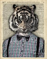 Hipster Tiger Plaid Shirt Vintage Dictionary Art Beatnik