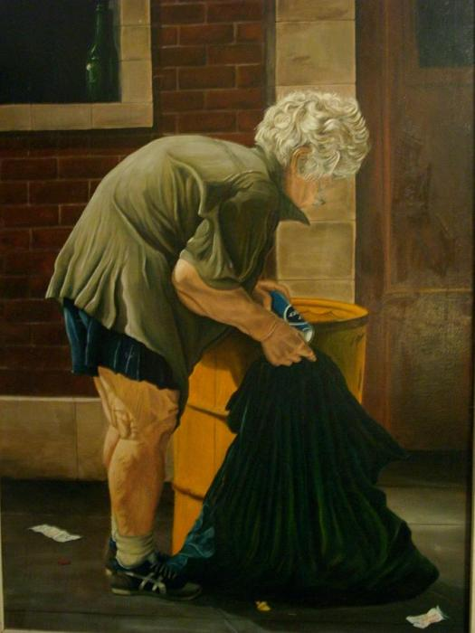 Social Realism Painting Homeless Woman Of Dixie Highway By Ricardo Santos