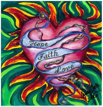 Hope Faith Love Painting by Susan Cooke Pena