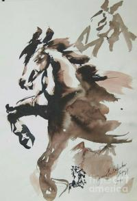 Horses Ink Wash Painting by Jamey Balester