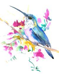 Hummingbird And Pink Purple Flowers Painting by Suren ...
