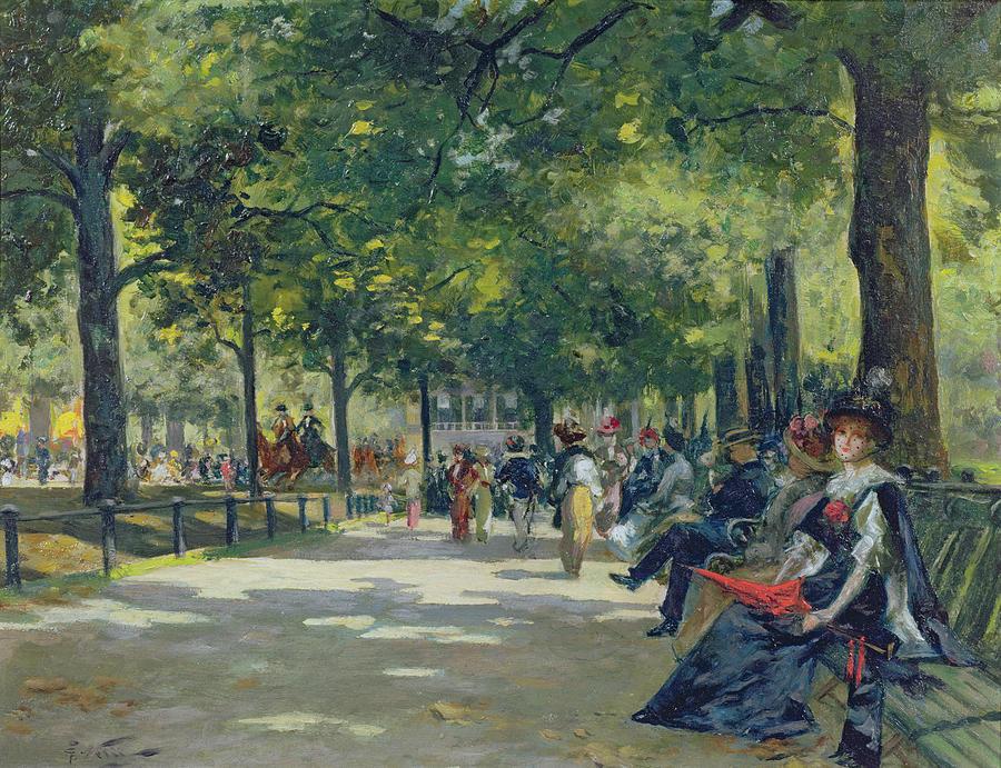 Hyde Park London Painting By Count Girolamo Pieri Nerli