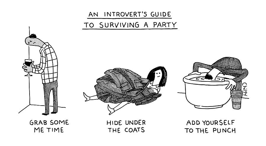 Introvert Guide To Surviving A Party Drawing by Tom Chitty