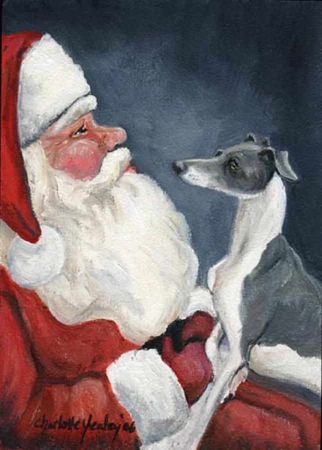 Italian Greyhound And Santa Painting By Charlotte Yealey