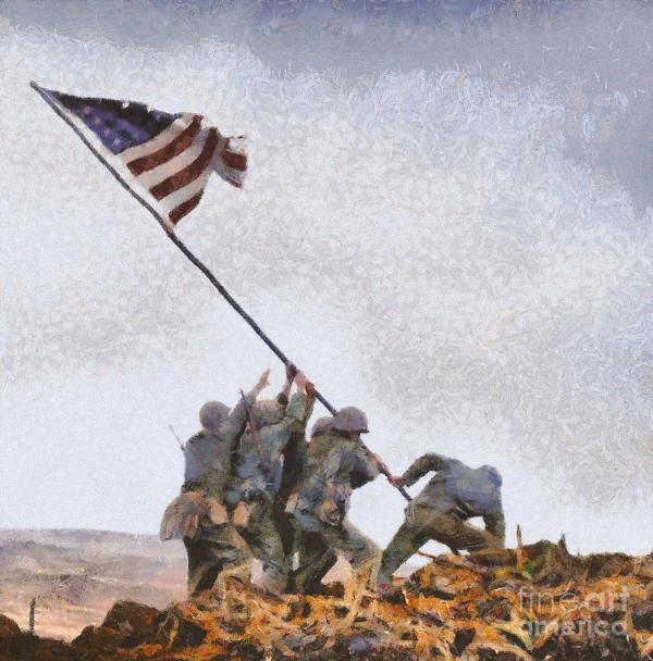 Iwo Jima Wwii Painting Mary Bassett