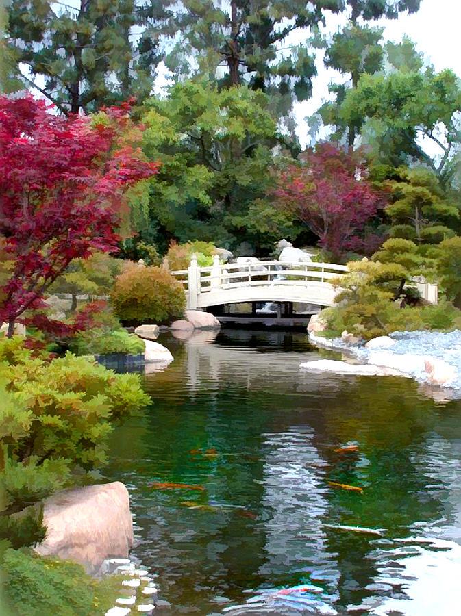 Japanese Garden Bridge And Koi Pond Painting By Elaine Plesser