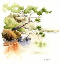 Japanese Garden Pond Sketch Painting by Karla Beatty