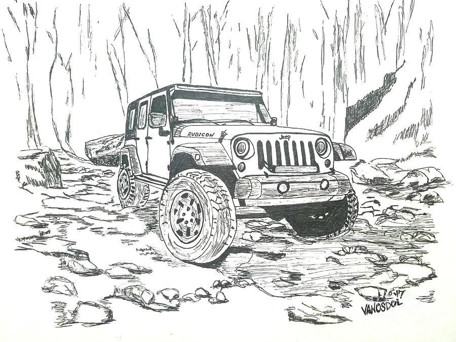 Jeep Rubicon Gel Pen Sketch Drawing by Scott D Van Osdol