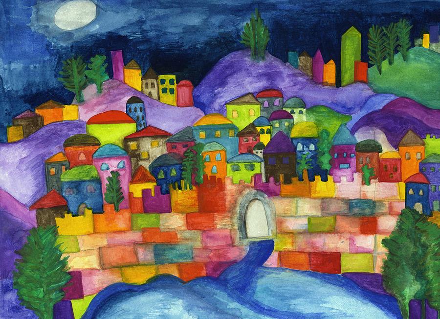 Jerusalem Scene Painting By Dora Ficher