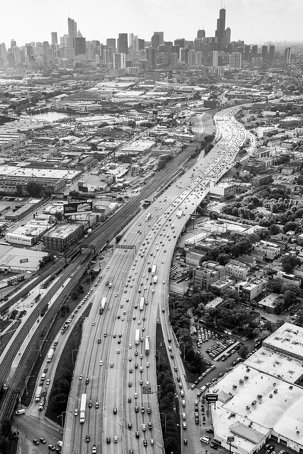 Kennedy Expressway And Chicago Skyline Photograph by Adam ...