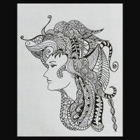 Lady Doodle Painting by Gaurav Talekar