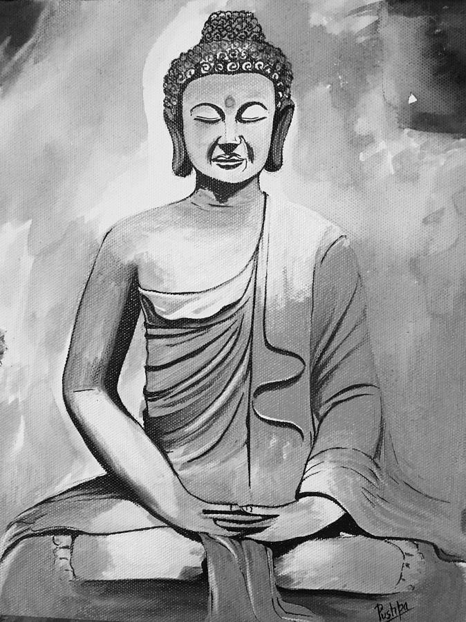 Lord Buddha In Black And White Painting By Pushpa Sharma