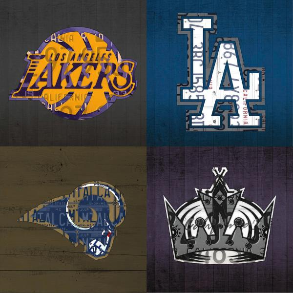 Los Angeles License Plate Art Sports Design Lakers Dodgers Rams Kings Mixed Media Turnpike