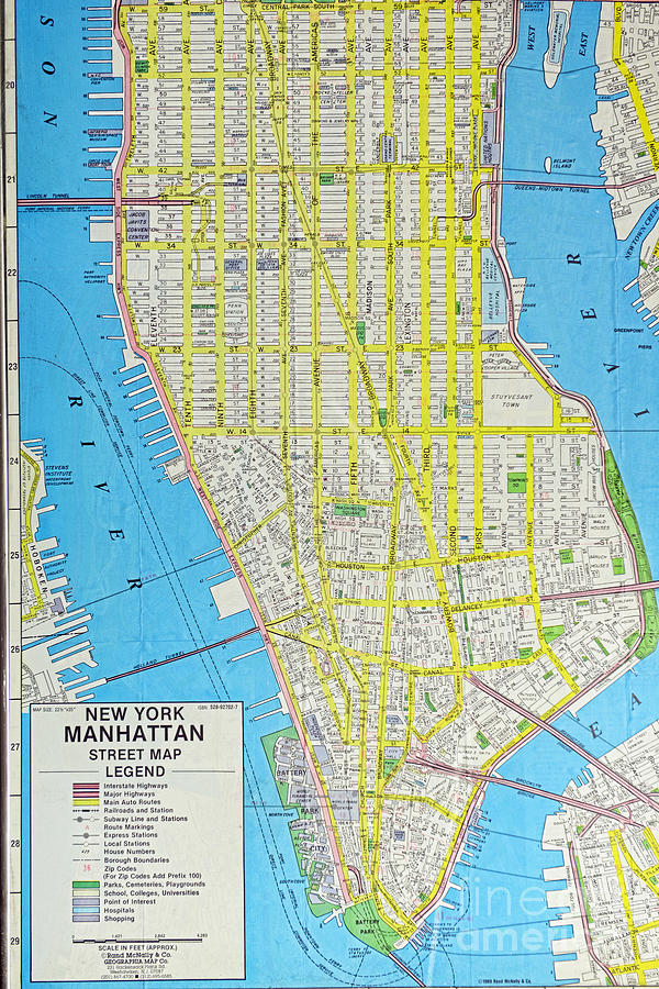 Map Lower Manhattan Nyc Photograph by Paul Ward