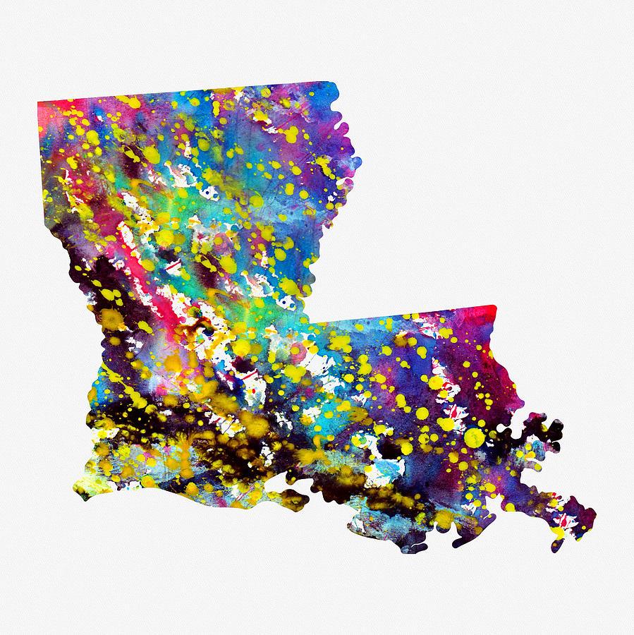 map of louisiana colorful