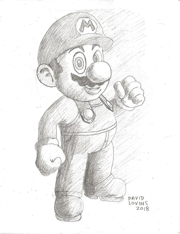 mario pencil drawing by