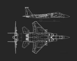 Mcdonnell Douglas F15 Eagle Grey Diagram Drawing by L Brown