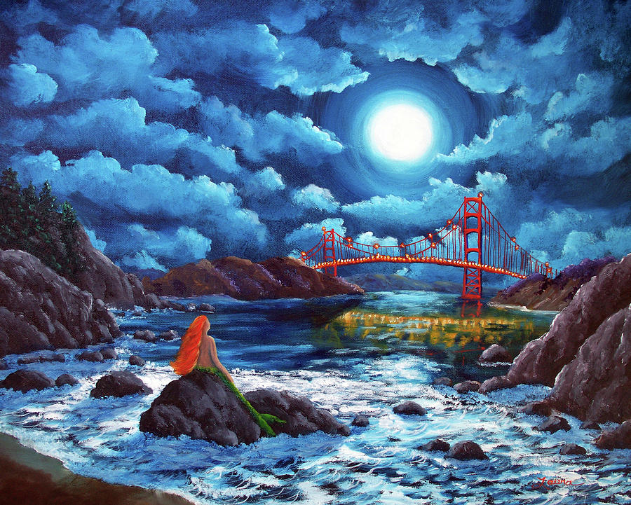 Vertical Full Hd Wallpapers Mermaid At The Golden Gate Bridge Painting By Laura Iverson