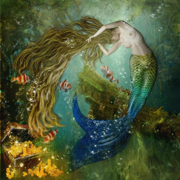 Mermaid Digital Art Karin Claesson