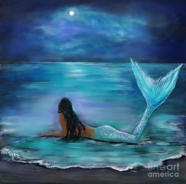 Mermaid Moon And Stars Painting Leslie Allen