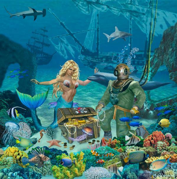 Mermaid' Coral Reef Treasure Digital Art Glenn Holbrook