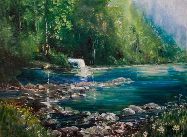 Michigan Upper Peninsula Falls Painting by Kym Inabinet