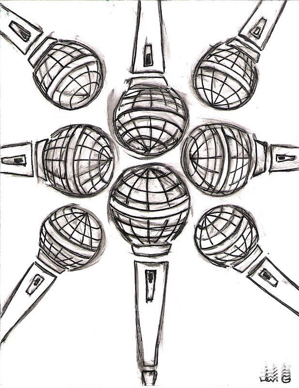 Microphone Cross Drawing by Levi Glassrock