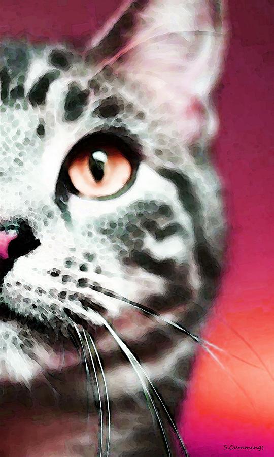 Modern Cat Art  Zebra Painting by Sharon Cummings