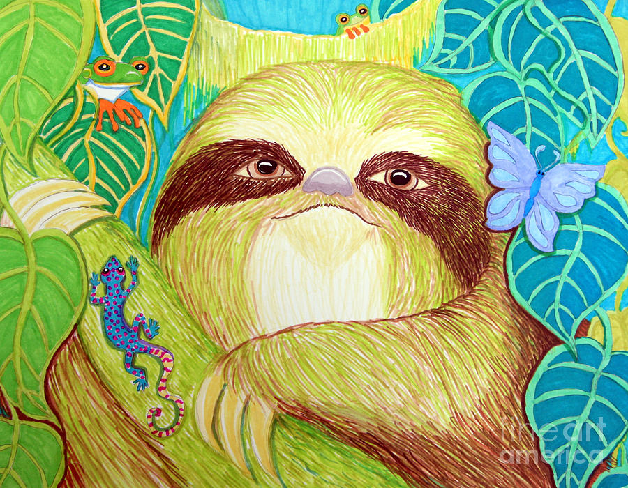 Mossy Sloth Drawing by Nick Gustafson