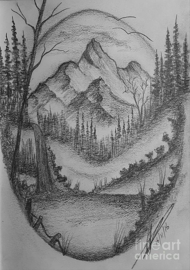 Mountain Pencil Drawing : mountain, pencil, drawing, Mountain, Drawing, Collin, Clarke
