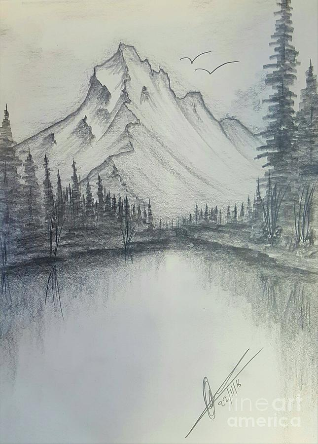 Mountain Pencil Drawing : mountain, pencil, drawing, Mountains, Drawing, Collin, Clarke