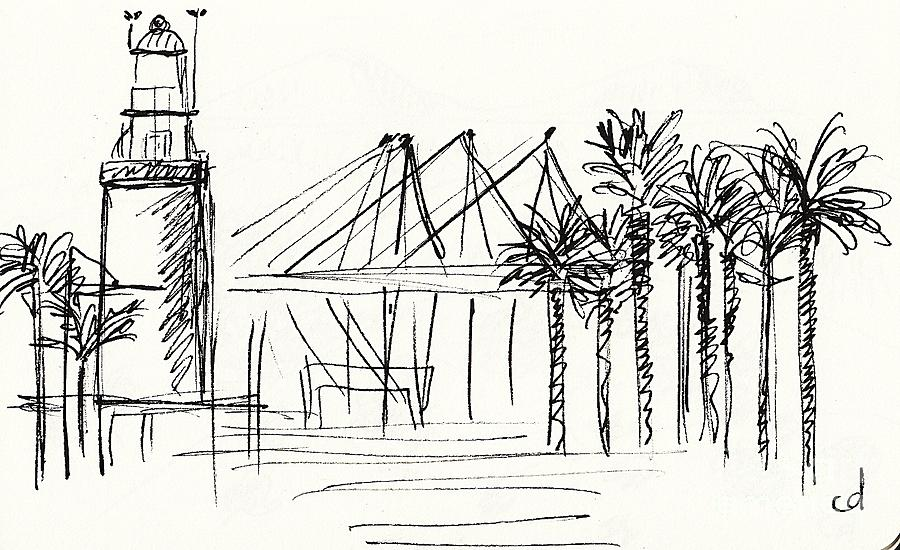 Muelle Uno In Malaga Drawing by Chani Demuijlder