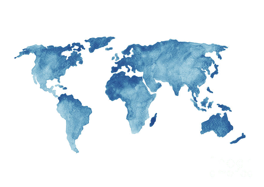 World Map Blue, Navy Kids Room Painting, Watercolor Baby