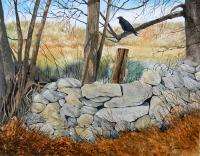New England Stone Wall Painting by Richard Kaiser