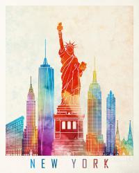 New York Landmarks Watercolor Poster Painting by Pablo Romero