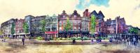 Nottingham Panorama City Watercolor Painting by Justyna JBJart