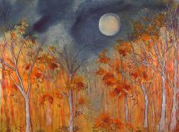 October Full Hunter's Moon Painting by Robin Samiljan