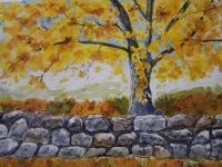 Old Stone Wall In Autumn Painting by Donna Cary