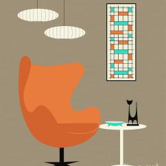 Orange Egg Chair Ladder Back Chairs With Woven Seats Digital Art By Donna Mibus
