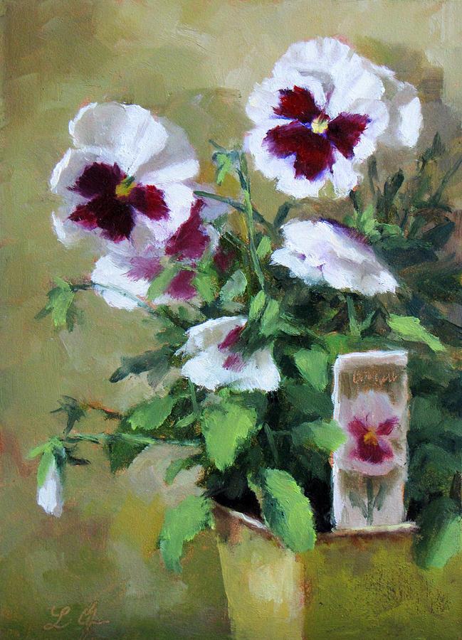 Pansies Painting by Linda Jacobus