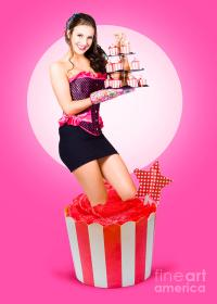 Pin-up Girl Popping Out Of Large Birthday Cake Photograph ...