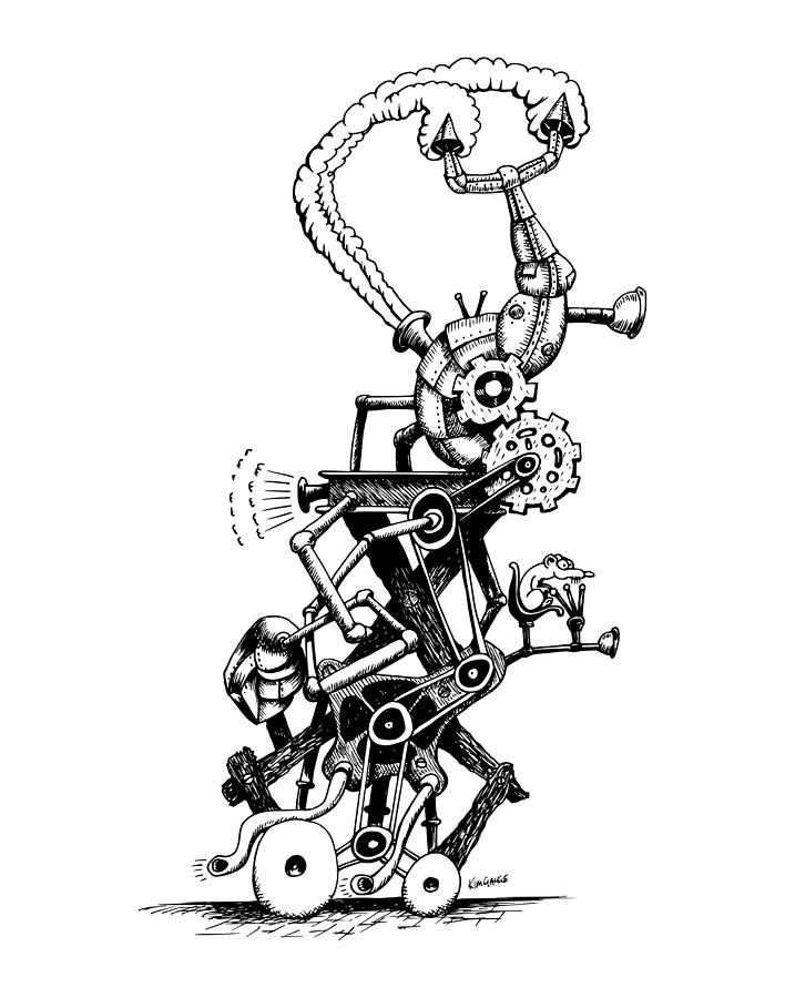 Rat Reverse-cycle Steam Engine Drawing by Kim Gauge