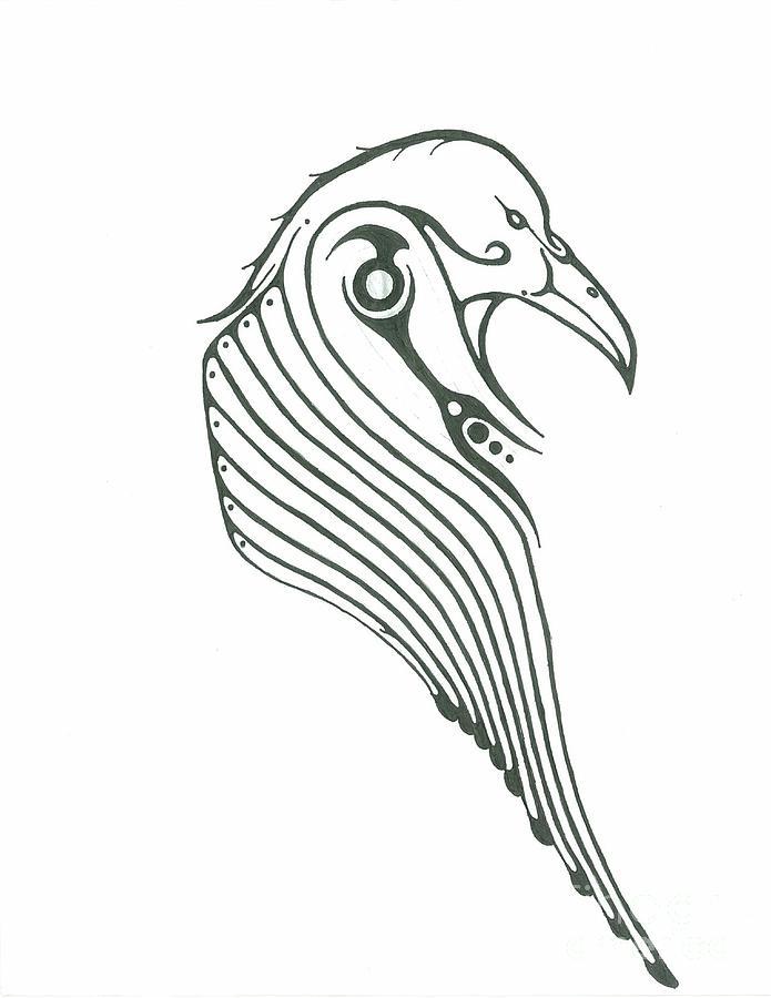Raven Drawing by Elliot Janvier
