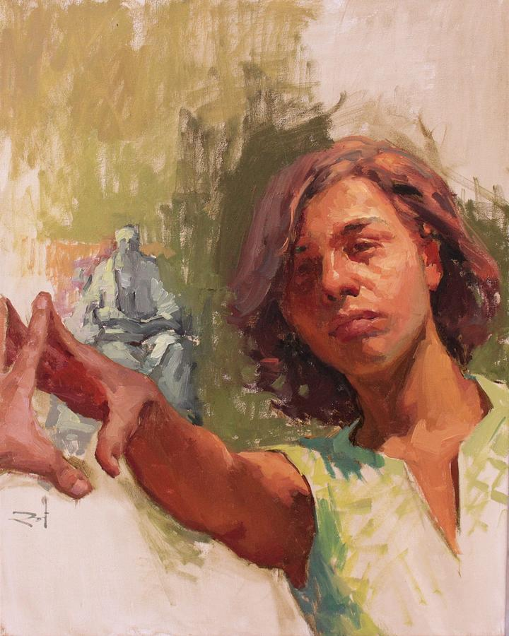 Self Portrait Painting - Reaching Out by Snehal Page