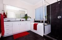 Red Black And White Bathroom Photograph by Darren Burton
