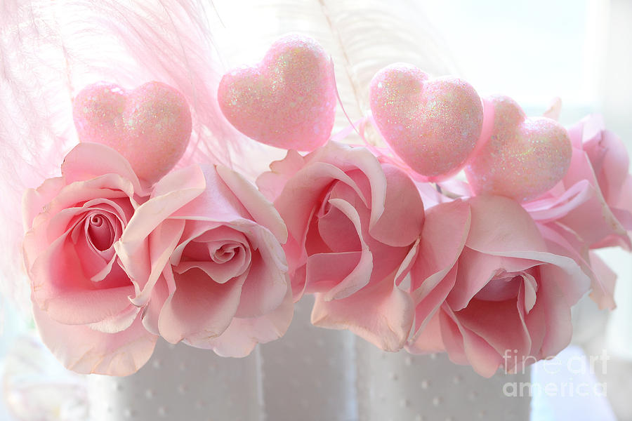 Romantic Pink Shabby Chic Valentine Hearts And Roses