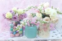 Romantic Shabby Chic Pastel Pink Aqua White Roses