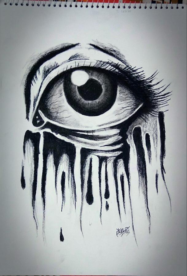 Sad Eyes Drawing : drawing, Crying, Drawing, Saurabh, Jangir
