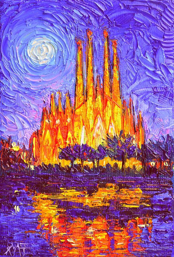 Impressionist Oil Painting : impressionist, painting, SAGRADA, FAMILIA, LIGHT, Modern, Impressionism, Impasto, Knife, Painting, Maria, Edulescu