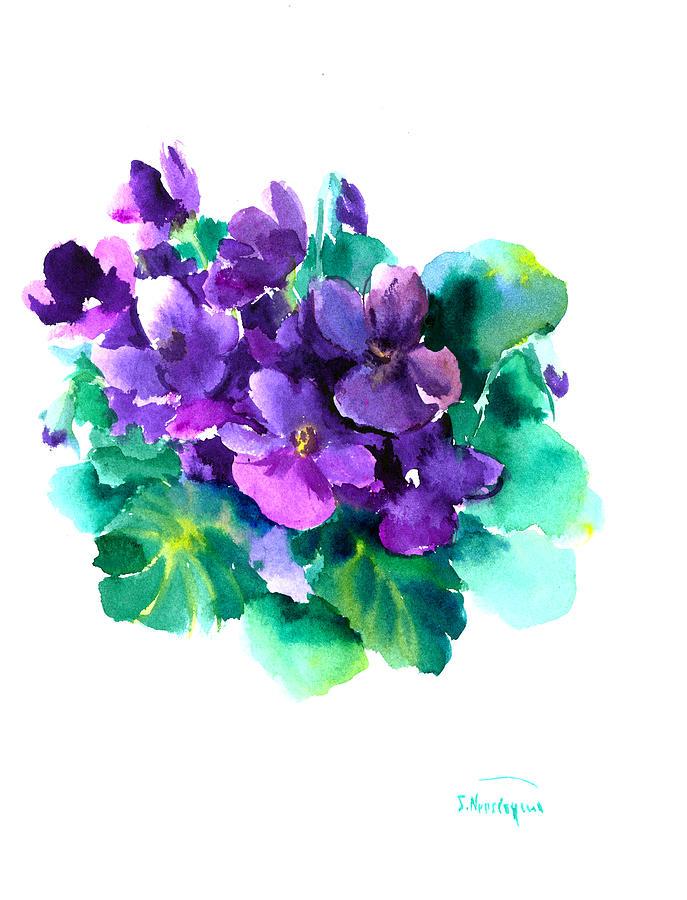 Sainpaulias African Violets Painting by Suren Nersisyan